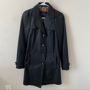 Betsey Johnson Black Long Trench Coat- Size XS